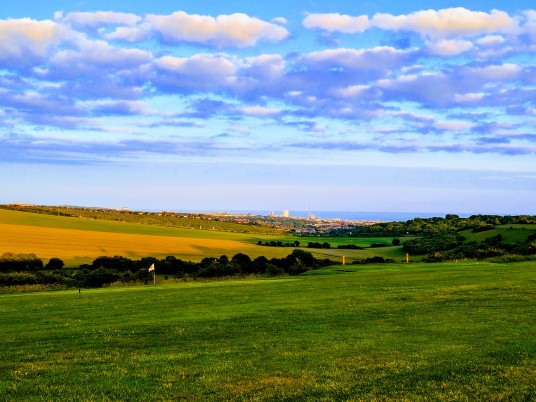 Brighton & Hove Golf Club view across the practice ground towards Brighton